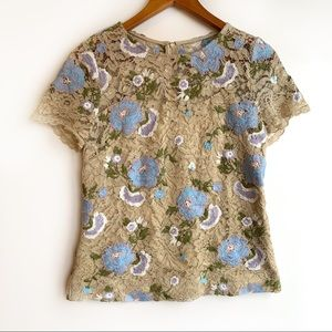 Calvin Klein floral embroidered lace blouse